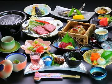 【1泊夕食】豊後牛のステーキ+鰻のせいろ蒸し+季節の会席