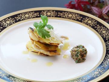 """ちどりが魅せる秋の一番食材 """"伊達いわなミルフィーユときのこアヒージョ"""" 本物志向へ贈る和洋折衷割烹"""