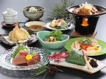 【スタンダード】1日2組限定!箱山会席料理と源泉かけ流し露天風呂にくつろぐ【一泊二食付き】