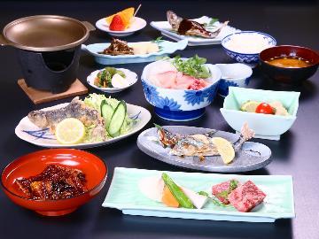 【グレードアップ】川の幸に極上鰻と和牛陶板焼き付き!