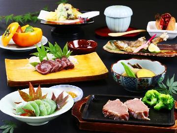 夏季限定:グレードアップ◆ジビエ鉄板焼きコースに 鹿肉or猪肉ステーキ をプラス<1泊2食>