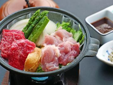 秋田が誇るブランド肉★比内地鶏陶板焼きとみなせ牛サイコロステーキの食べ比べプラン♪