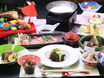季節の贅沢会席◆~春の彩り~美明豚の豆乳しゃぶしゃぶ×常陸牛の赤ワインと八丁味噌煮込み