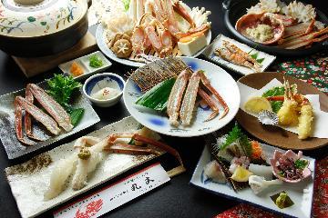 <GoToトラベルキャンペーン割引対象>活カニ握り寿司・カニ天ぷら付き☆松葉蟹特上カニフルコース