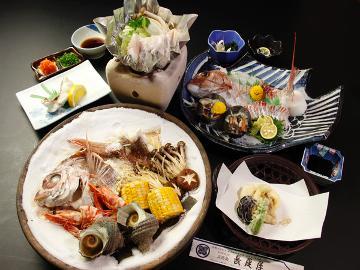 【HP限定】チョイス祭り【長尾屋の嬉しい★選べる海鮮】海鮮会席+鯛姿造りor宝楽焼き★★