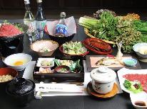 たっぷり一皿!馬刺し付♪おいしいお料理と源泉かけ流しの温泉で元気チャージ☆
