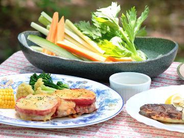 【添い寝無料】【1泊2食】 野菜ソムリエが作る洋食コースと味わう、標高1350mでの~んびり高原旅
