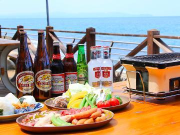 THE BBQプラン★海辺でワイワイ★天草大王+大手羽つき♪期間限定!館内19時までビール無料!