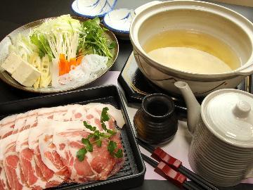 【麓山高原豚しゃぶしゃぶ】冬季限定グレードアップコース★福島ブランド豚をアッツアツのしゃぶしゃぶ鍋で