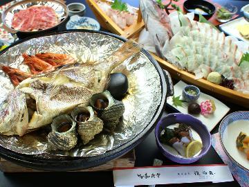 明石鯛が丸ごと1匹★舟盛り&鯛の宝楽焼プラン(1泊2食付)