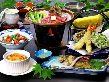 【グレードアップ】上州牛陶板焼き&尾瀬 片品産の食材を堪能♪お料理グレードアップ[1泊2食付]