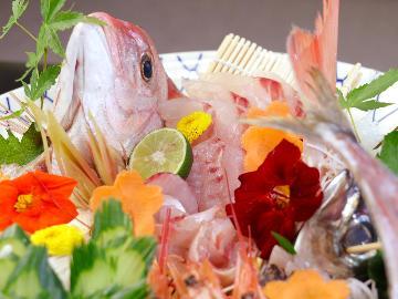 旬の魚の造り皿盛り付♪地元の料理に大満足!新鮮な食材を堪能しよう【1泊2食付き】
