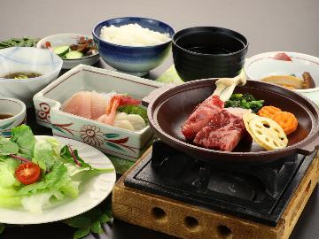 【グレードアップ】旨みがギュッ☆とした新潟牛と旬野菜の陶板焼き[2食付]
